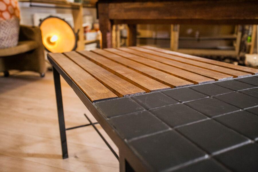 table basse vintage bois carrelage Deborah Deco bouches-du-rhone
