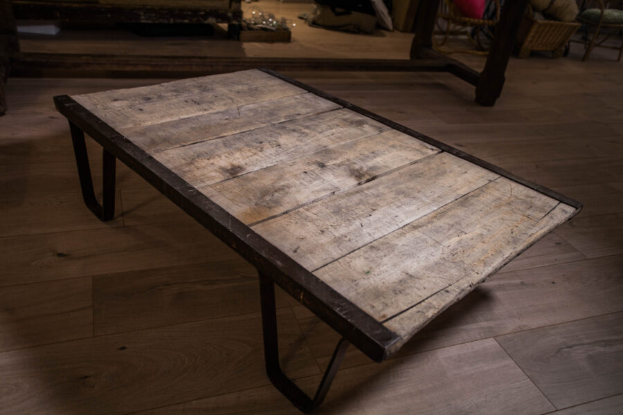 table basse vintage chêne fer Deborah Deco marseille